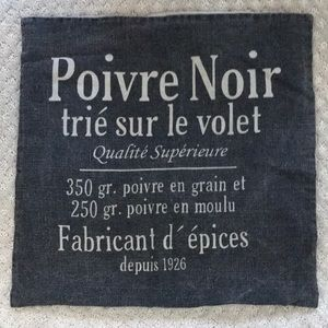 Charcoal and tan French linen pillow cover 19.5""